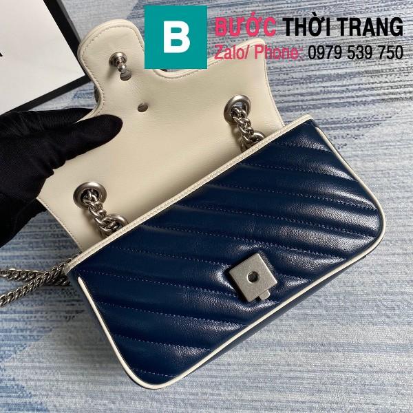 Túi xách Gucci Marmont matelasé mini bag siêu cấp màu xanh viền trắng size 22cm - 446744