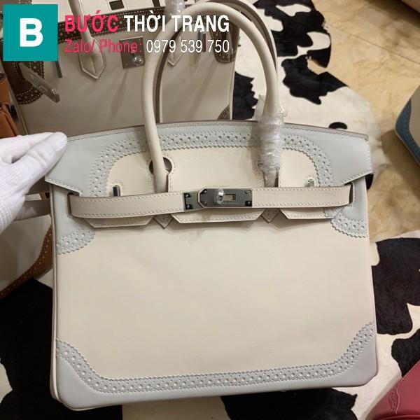 Túi xách Hermes Birkin siêu cấp da Togo màu trắng 1 size 30cm