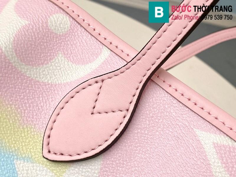 Túi xách Louis Vuitton Escale Neverfull MM siêu cấp màu hồng size 31 cm - M45270