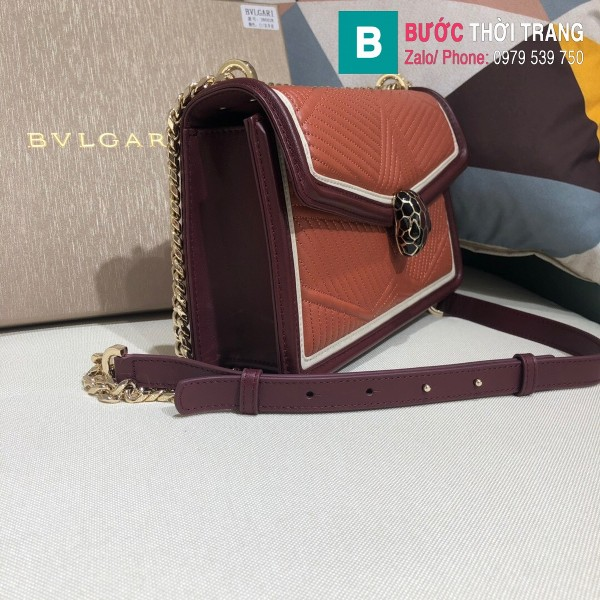 Túi xách Bvlgari Seventi Diamond Blast siêu cấp da bê màu nâu bò size 24 cm - B286628