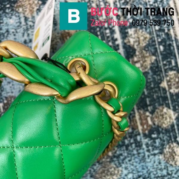 Túi đeo chéo Chanel siêu cấp nắp gập da cừu màu xanh size 23cm - AS2388