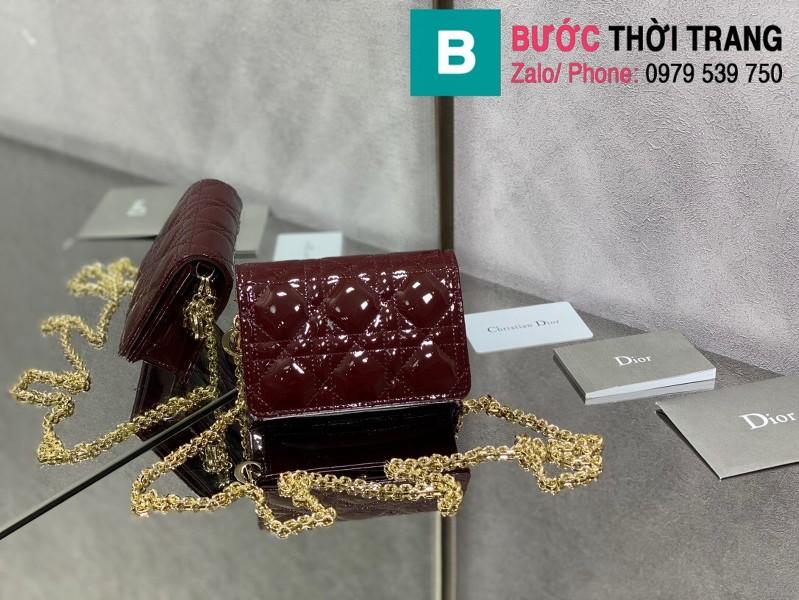 Túi xách Lady Dior Nano Pouck siêu cấp da bê màu đỏ đô size 13.5cm -D6401