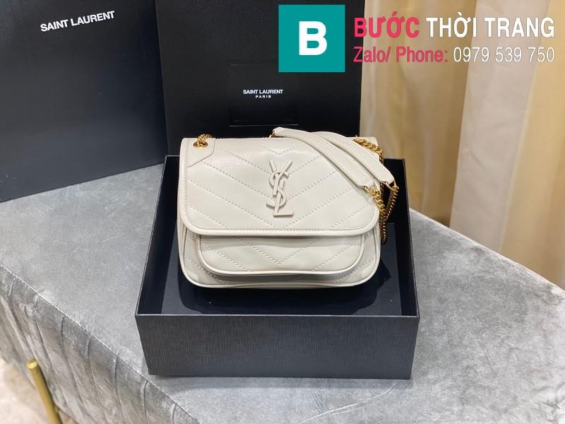 Túi xách YSL Niki siêu cấp da cừu màu trắng size 22cm - 533037