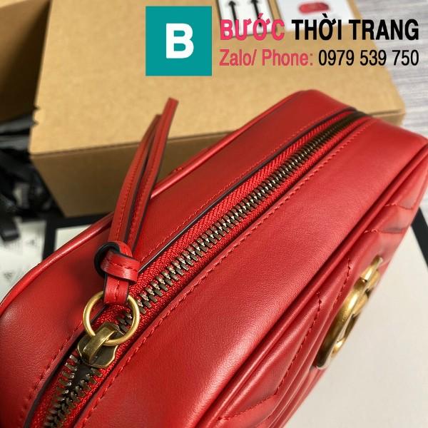 Túi xách Gucci Marmont small matelassé shoulder bag siêu cấp màu đỏ size 24cm - 447632