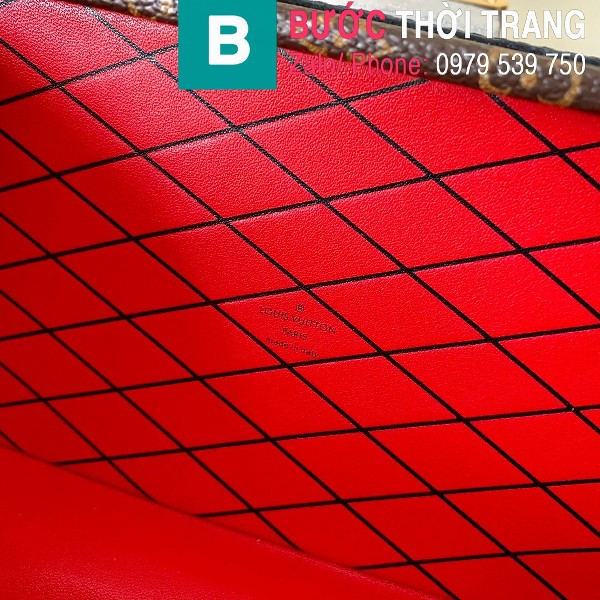 Túi xách LV Louis Vuitton Petite Malle siêu cấp Monogram màu đen lót đỏ size 19cm - M44199