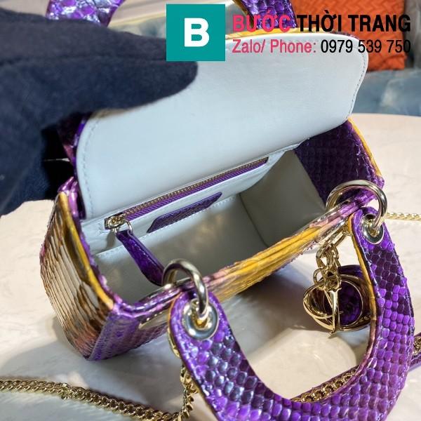 Túi xách Dior Lady siêu cấp da trăn màu tím size 17cm