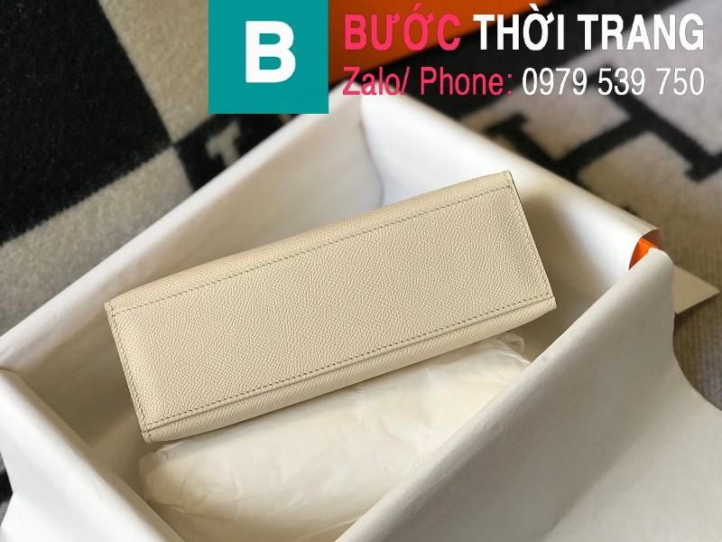 Túi xách Hermes Kelly Pochette siêu cấp da epsom màu trắng size 22cm