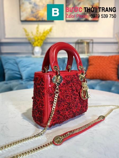 Túi xách Dior Lady siêu cấp da bê màu đỏ size 17cm