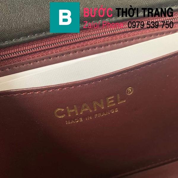 Túi đeo chéo Chanel siêu cấp mẫu mới da bê cừu màu đen size 23cm - AS1499