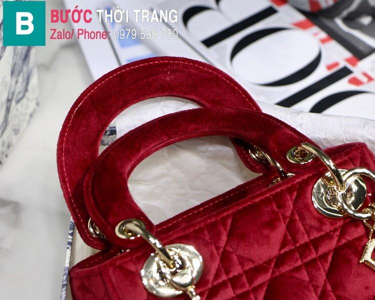Túi xách Dior Lady Mini bag siêu cấp vải canvas màu đỏ size 17 cm