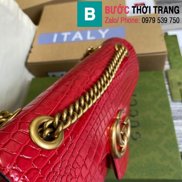 Túi xách Gucci Marmont siêu cấp da bò dập vân cá sấu màu đỏ size 26cm - 443497