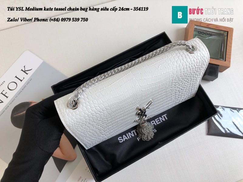 Túi YSL Medium kate tassel chain màu trắng tag bạc dập vân cá sấu 24cm - 354119