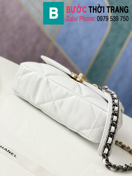 Túi xách Chanel 19 flap bag siêu cấp da bê màu trắng size 26 cm - 1160