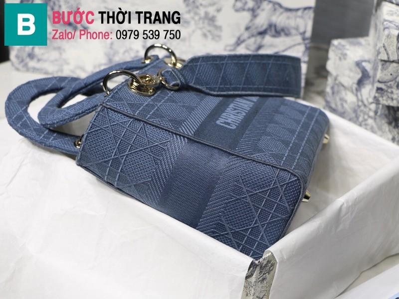 Túi xách Dior Lady D-Lite siêu cấp vải casvan màu xanh đậm size 24cm