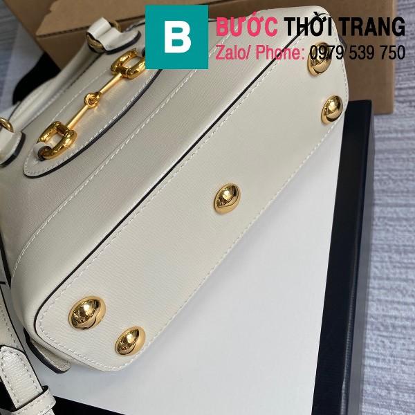 Túi xách Gucci Hosebit 1955 mini top handle bag siêu da bê màu trắng size 20cm - 640716