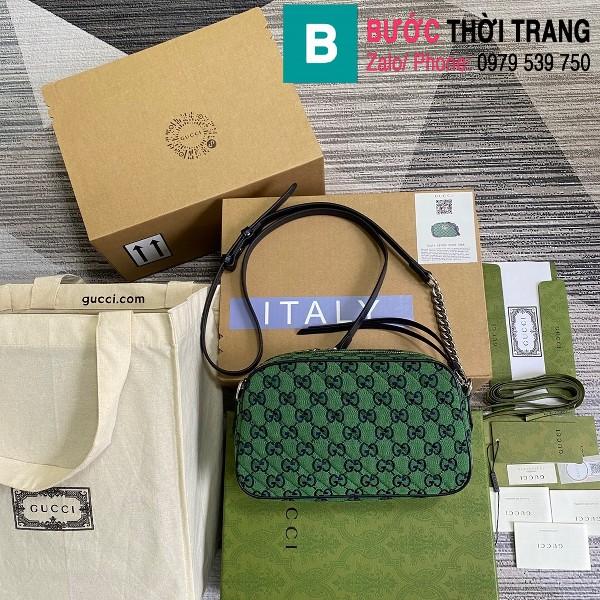 Túi xách Gucci Marmont small shoulder bag siêu cấp casvan màu xanh lá size 24cm - 447632