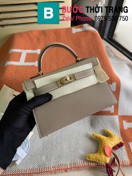 Túi xách Hermes Kelly mini siêu cấp da epsom màu xám size 19.5cm