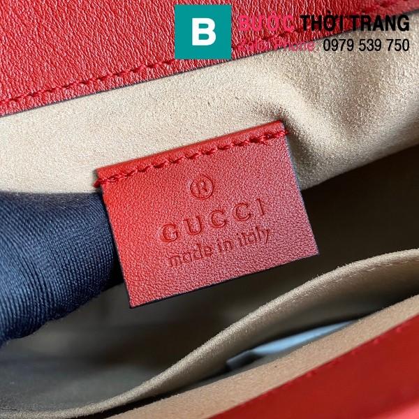 Túi xách Gucci Marmont mini top handle siêu cấp da chevron màu đỏ size 21cm - 547260