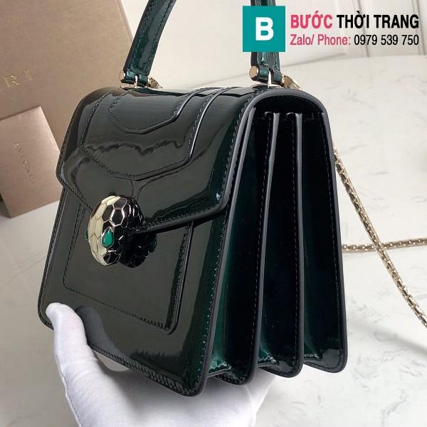 Túi xách Bvlgari Seventi forever siêu cấp da bóng màu xanh size 18 cm