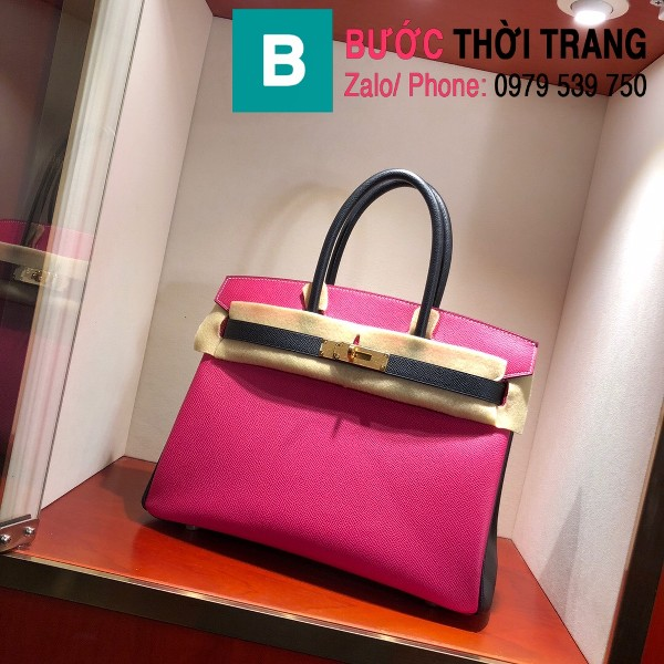 Túi xách Hermes Birkin siêu cấp da epsom màu hồng đậm size 30cm