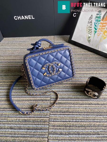Túi xách Chanel Vanity case bag siêu cấp viền xích màu xanh size 18 cm