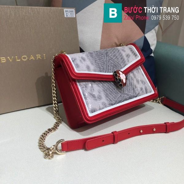 Túi xách Bvlgari Seventi Diamond Blast siêu cấp da trăn màu đỏ size 24 cm