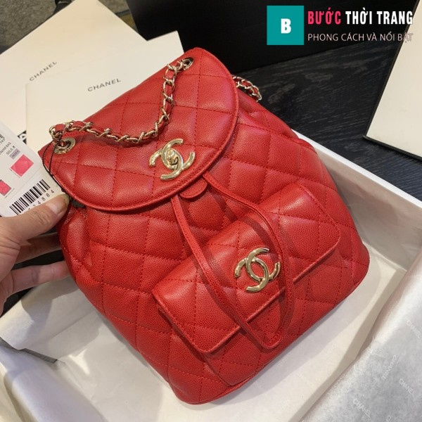 Túi xách Chanel duma backpack màu đỏ size 21.5 cm - AS 1371