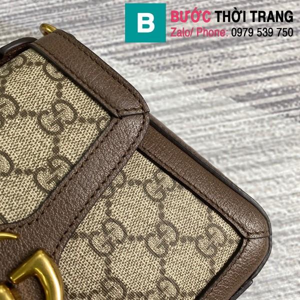 Túi xách Gucci Marmont mini top handle siêu cấp vải casvan màu nâu size 21cm - 547260