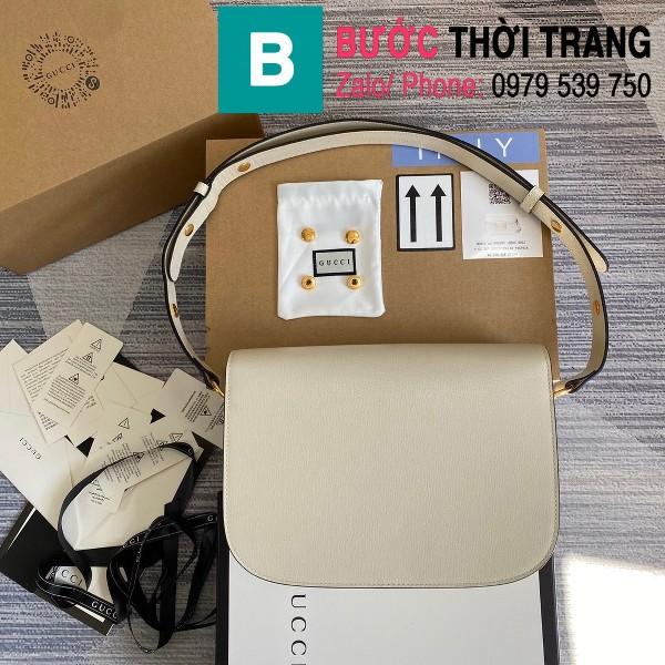 Túi xách Gucci Horsebit 1955 shoulder bag siêu cấp da bê màu trắng size 25cm - 602204