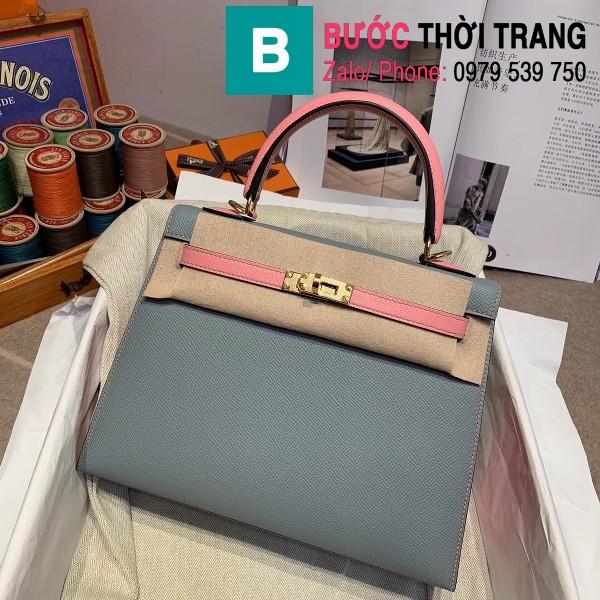 Túi xách Hermes Kelly bag siêu cấp da epsom màu xanh size 25cm