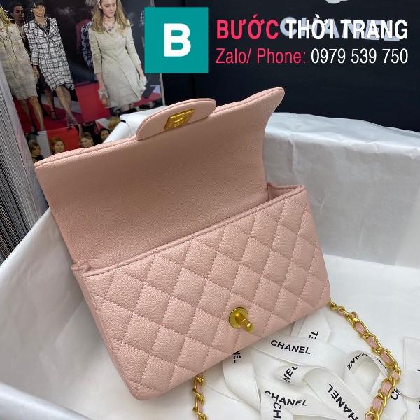 Túi xách Chanel Flap Bag siêu cấp da bê hạt màu hồng nhạt size 20cm - AS2431