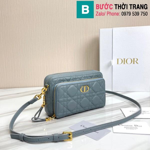 Túi xách Dior caro bag siêu cấp da bê màu xanh nhạt size 19cm