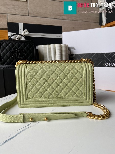 Túi xách Chanel boy siêu cấp màu xanh cốm size 25 cm - A67086