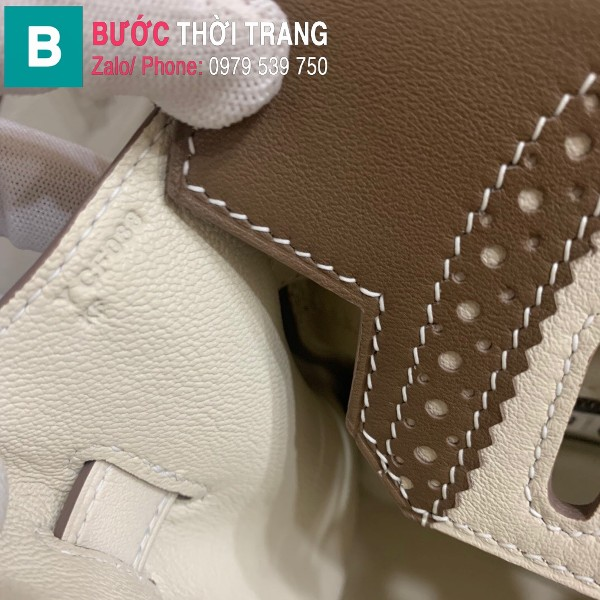 Túi xách Hermes Birkin siêu cấp da Togo màu trắng 4 size 30cm