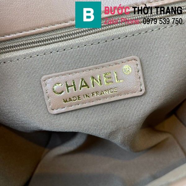 Túi đeo chéo Chanel Mini Bag siêu cấp da bê màu nâu size 19.5cm - AS2411