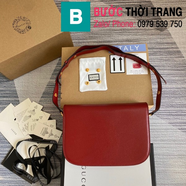 Túi xách Gucci Horsebit 1955 shoulder bag siêu cấp da bê màu đỏ size 25cm - 602204