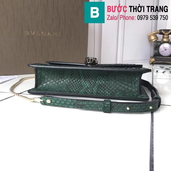 Túi xách Bvlgari Serventi forever siêu cấp da rắn màu xanh size 22cm