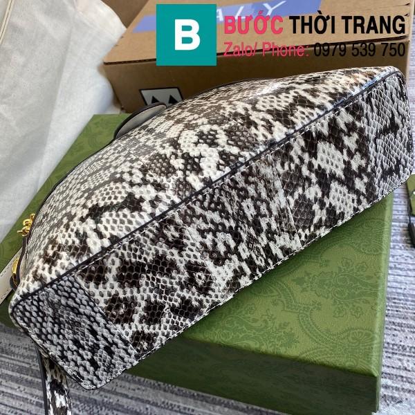 Túi xách Gucci Ophidia Small Shoulder siêu cấp da trăn màu trắng đen size 26cm - 499621