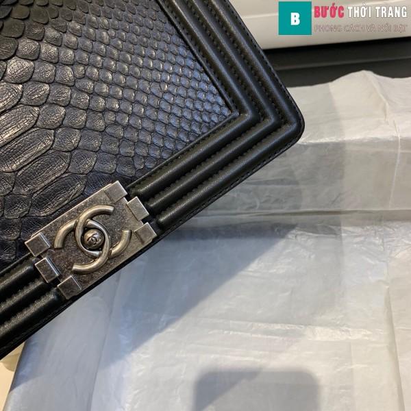 Túi xách Chanel boy siêu cấp da trăn màu đen size 25 cm - A67086