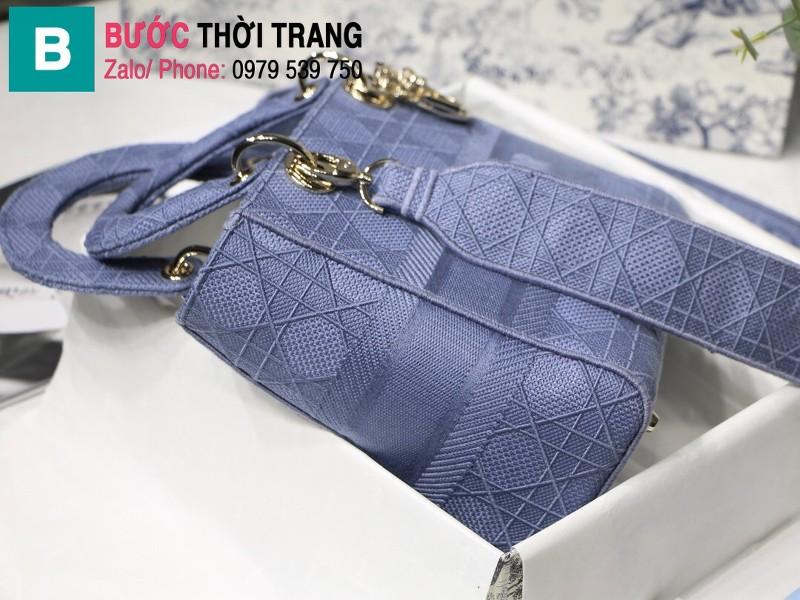Túi xách Dior Lady D-Lite siêu cấp vải casvan màu xanh nhạt size 24cm