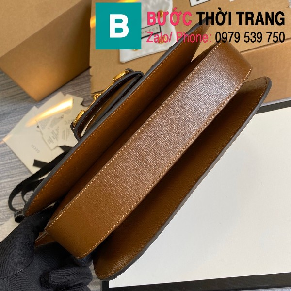 Túi xách Gucci Horsebit 1955 shoulder bag siêu cấp vải casvan viền nâu size 25cm - 602204