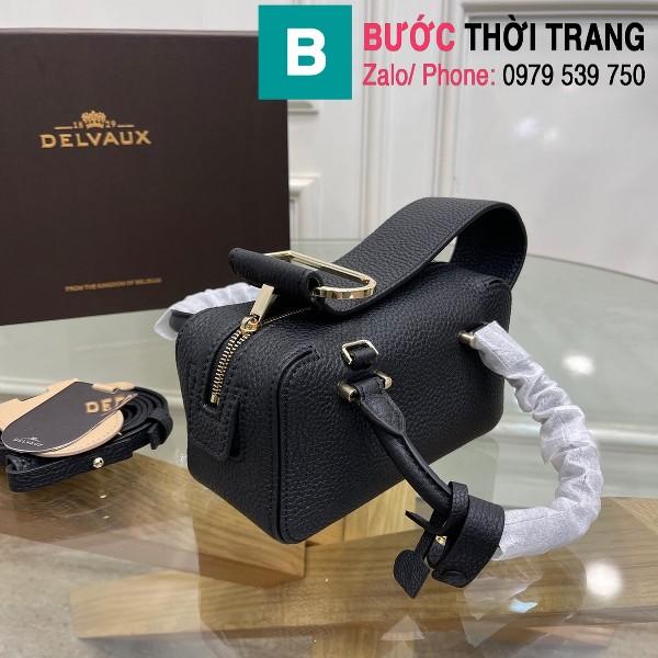 Túi xách Delvaux Coolbox nano siêu cấp da taurillon màu đen size 16.5cm