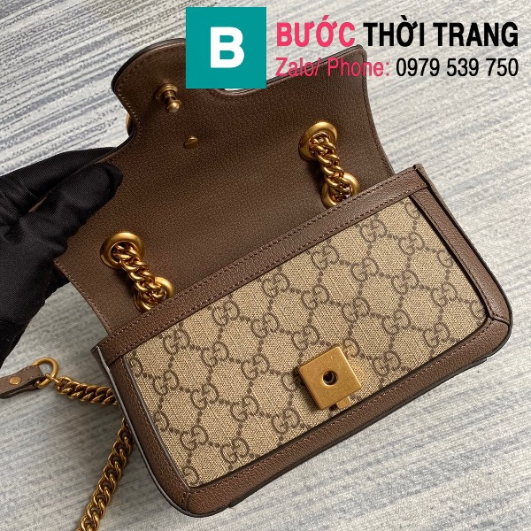 Túi xách Gucci Marmont matelasé mini bag siêu cấp viền nâu size 22cm - 446744