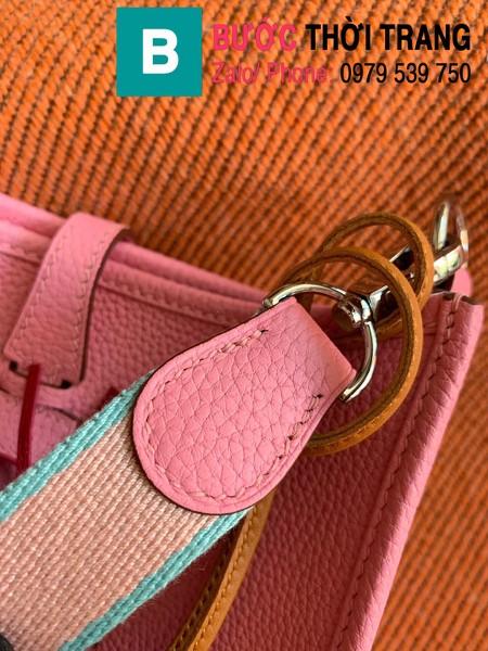 Túi xách Hermes Evelyne mini bag siêu cấp da togo màu hồng size 17cm