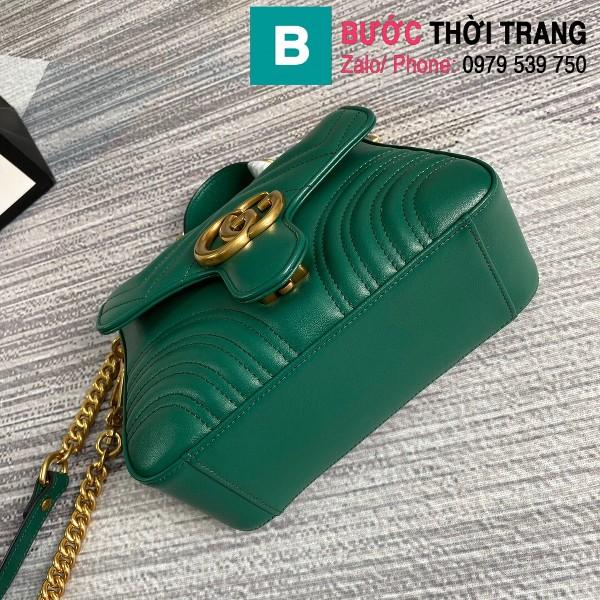 Túi xách Gucci Marmont mini top handle siêu cấp da chevron màu xanh size 21cm - 547260