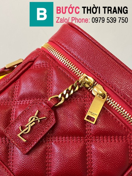 Túi xách YSL Saint Laurernt Vanity siêu cấp da bê màu đỏ size 14.5cm - 649779