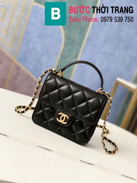 Túi xách tay Chanel mẫu mới siêu cấp da bê màu đen size 18 cm - AS8817