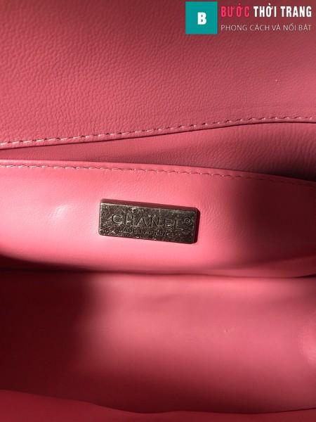 Túi xách Chanel boy siêu cấp da cá đuối màu hồng nhạt size 25 cm - A67086