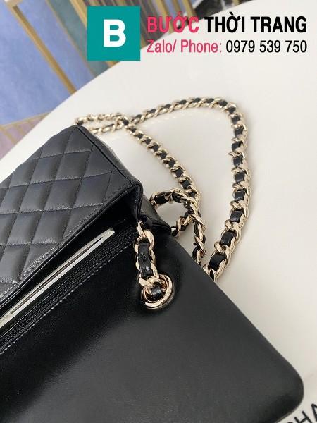 Túi xách Chanel Folding Bag siêu cấp da cừu màu đen size 20cm - AS2326