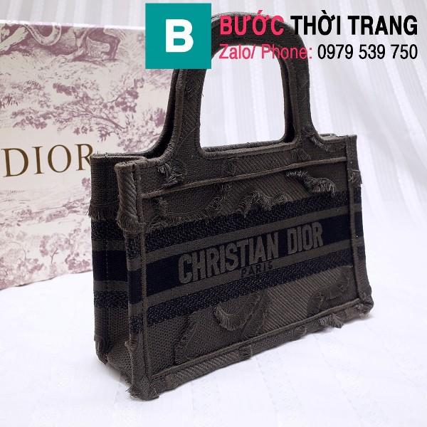 Túi xách Dior Book Tote mini siêu cấp chất liệu vải casvan màu 5 size 23cm